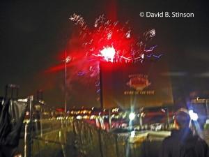 Post Game Fireworks Fill The Rain Soaked Night in Winston-Salem, North Carolina