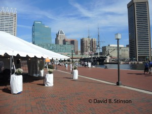 Authors Stage at Bicentennial Plaza, with Baltimore's Inner Harbor in Background