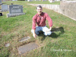 Author Austin Gisriel Next to Boots Poffenberger's Grave Marker, Riverview Cemetery