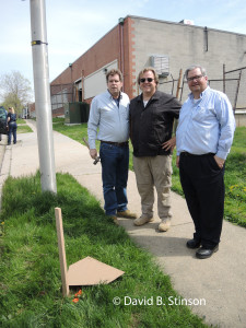J. Hollis B. Albert III , Bernard McKenna, and Richard O'Keefe Standing at Former Site of Home Plate, Old Oriole Park, Baltimore, Maryland