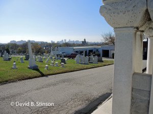 Baltimore Skyline As Seen From Von Der Horst Mausoleum in Baltimore Cemetery, Baltimore, Maryland