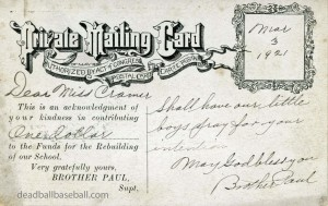 Reverse Of St. Mary's Industrial School Private Mailing Card, Featuring Babe Ruth's Band