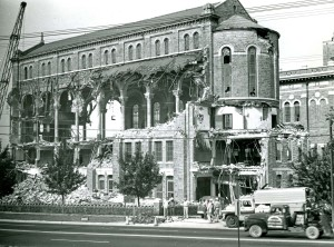 Demolition of St. Mary's Industrial School Chapel in 1961 (Baltimore Sun Photo, Ralph Robinson photographer)