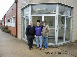 Richard O'Keefe, David Stinson, and J. Hollis Albert, III, Outside Peabody Heights Brewery, Baltimore, Maryland
