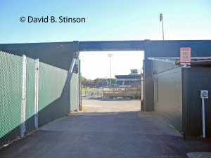 View of Municipal Stadium through Center Field Gates Near Parking Lot to Stadium Grill and Tavern, Hagerstown, Maryland