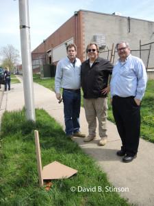 J. Hollis B. Albert III , Bernard McKenna, and Richard O'Keefe Standing at Former Site of Home Plate, Old Oriole Park, Baltimore, Maryland