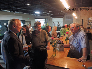 Comptroller Peter Franchot Talks With  J. Albert Hollis, III, and Richard O'Keefe, at Grand Opening of Peabody Heights Brewery Tasting Room