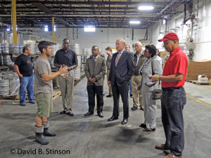 Eli Breitburg-Smith, Brewer, Leads a Tour of the Peabody Heights Brewery for Dignitaries, including Comptroller Peter Franchot, Baltimore Orioles Minority Owner Wayne Gioioso, Sr., Delegate Mary Washington, and Lt. Governor Boyd Rutherford